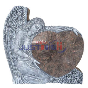 angel with heart shape granite headstone