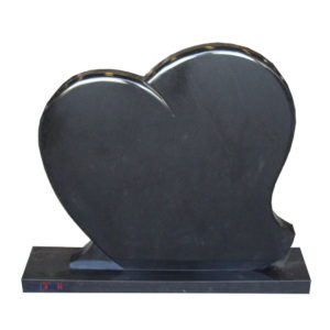 black heart shape headstone