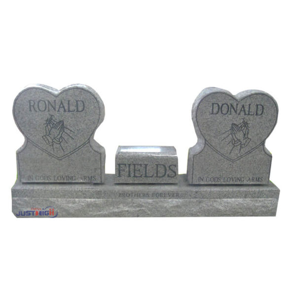 Double heart shape upright headstone