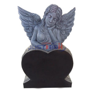 angle with black heart shape headstone
