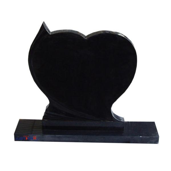 black heart shape headstone
