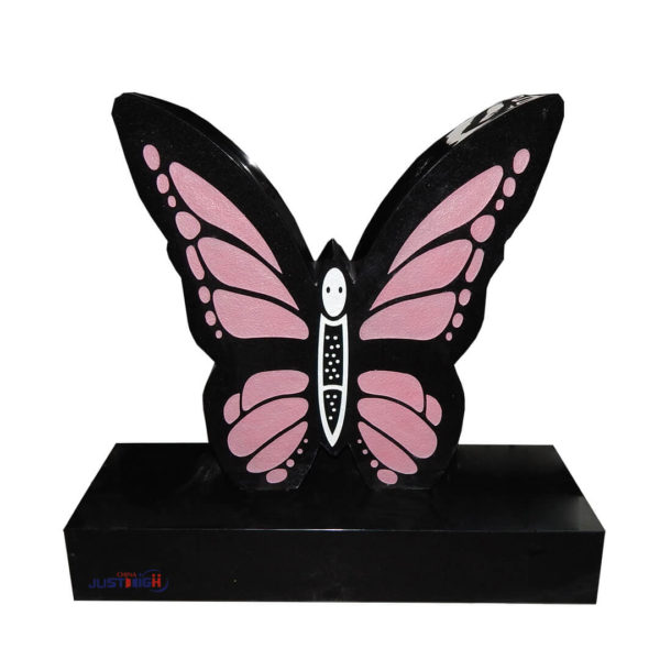 red butterfly design for headstone