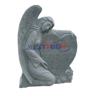 grey granite angle with heart shape headstone