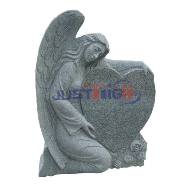 grey granite angle with heart shape headstone