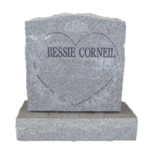 grey heart headstone