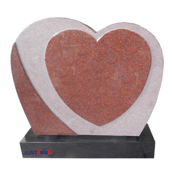 red granite heart shape headstone