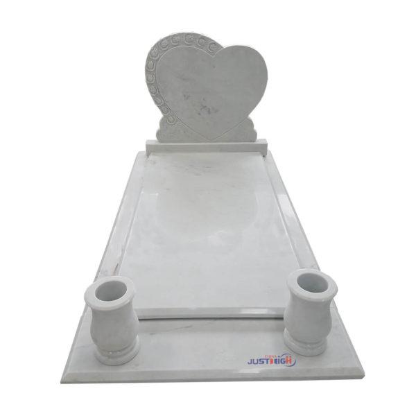 white heart headstone