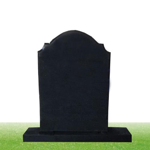 black granite upright headstone