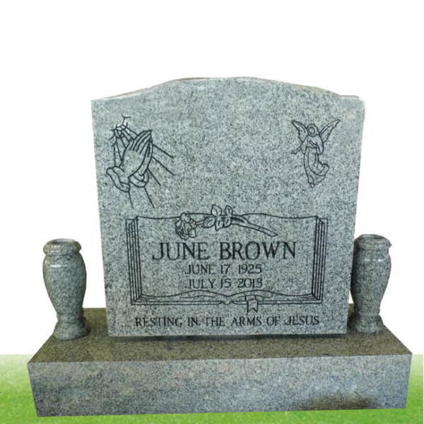 grey color headstone with two vase