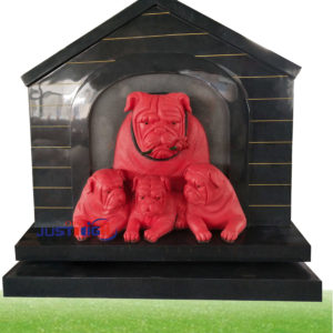 G654 bulldog carving headstone
