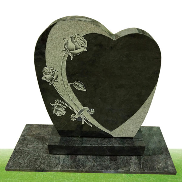 Heart shape headstone with rose carving