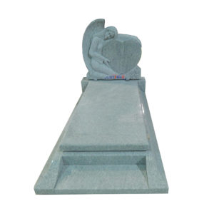 angel with heart shape carved granite headstone