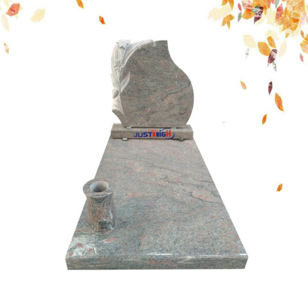 flower carved with vase granite tombstone