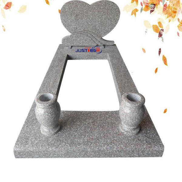 grey granite tombstone heart shape