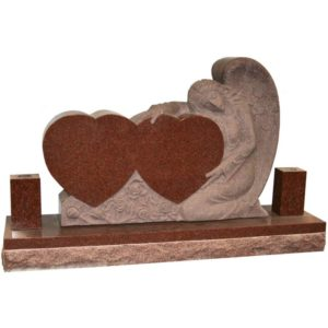 red color double heart and angel headstone