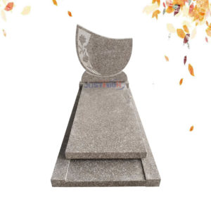 G635 GRANITE tombstone with flower carved
