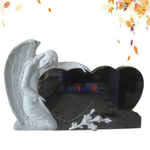 black double heart shape granite headstone