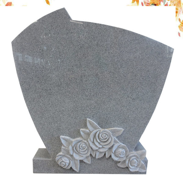 simple high polished flower carved granite headstone